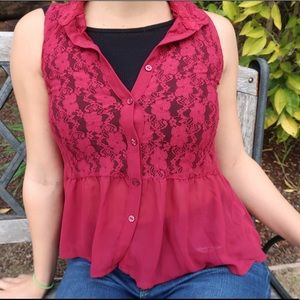 Red Lace H&M Blouse